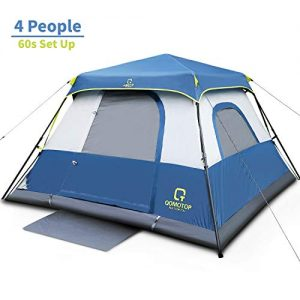 OT QOMOTOP Tents, 4 Person 60 Seconds Set Up Camping Tent, Waterproof Pop Up Tent with Top Rainfly, Instant Cabin Tent, Advanced Venting Design, Provide Gate Mat