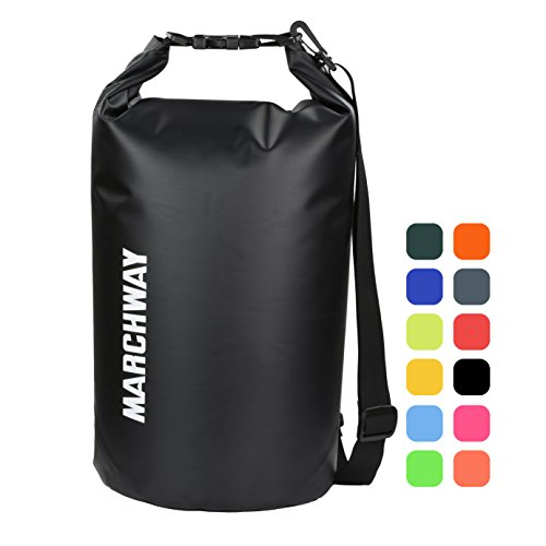 MARCHWAY Floating Waterproof Dry Bag Backpack 5L/10L/20L/30L/40L, Roll Top Dry Sack for Kayaking Rafting Boating Swimming Camping Hiking Beach Fishing Backpacking Mountaineering Paddling (Black, 10L)