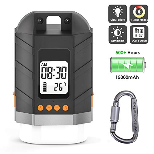 Sinvitron LED Camping Lantern Rechargeable, Power Bank 15000mAh, Camping Tent Light W/Up to 500H Light Time & LCD Screen, 4 Light Mode, IP65 Waterproof for Emergency, Hurricane, Power Outage, Hiking