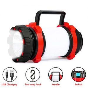 Night-travel Camp Lantern Rechargeable, Portable LED Flashlight, 6 Modes Camping Light with 700LM, IPX4 Water Resistant, Perfect for Camping, Hiking, Patrol and More(Red)