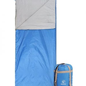 "REDCAMP Ultra Lightweight Sleeping Bag for Backpacking, Comfort for Adults Warm Weather, with Compression Sack Blue (75""x 32.5"")"