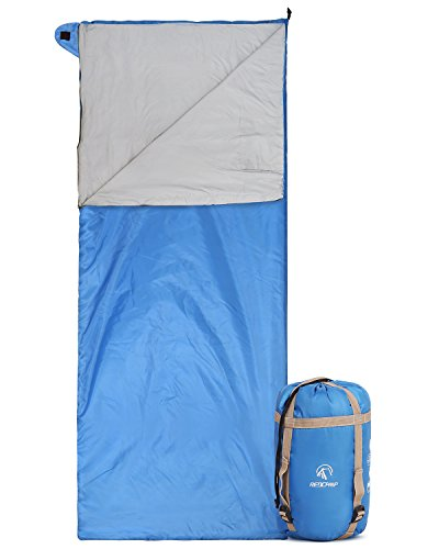 """REDCAMP Ultra Lightweight Sleeping Bag for Backpacking, Comfort for Adults Warm Weather, with Compression Sack Blue (75""""x 32.5"""")"""