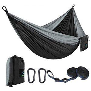 CAMDEA Single Camping Hammock with Tree Straps, Camp Lightweight Portable Hammock, Hammock Tent Swing for Sleeping, Backpacking, Travel, Outdoor, Beach, Hiking, Sport Black