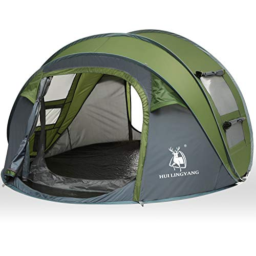 HUI LINGYANG 4 Person Easy Pop Up Tent-Automatic Setup Sun Shelter for Beach- Instant Family Tents for Camping, Hiking and Traveling