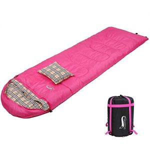 DESERT and FOX Cotton Flannel Sleeping Bags Attach Pillow, 4 Season Warm and Cold Weather Envelope Compression Sack, Lightweight and Portable Sleeping Bag for Outdoor Camping, Hiking, Traveling