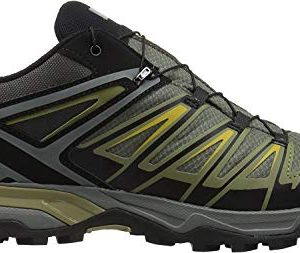 Salomon Men's X Ultra 3 GTX Hiking Shoes, Castor Gray/Beluga/Green Sulphur, 9.5