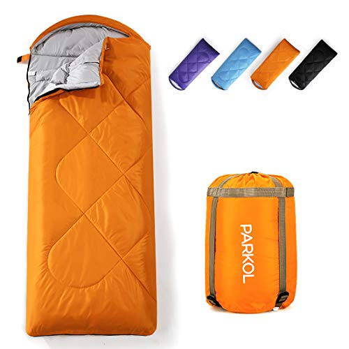 PARKOL Sleeping Bag for Adults and Kids - 3 Seasons Warm Cool Weather - Summer, Spring, Fall, Waterproof, Lightweight, Portable, Camping Gear Equipment for Sleepover, Hiking, Backpacking