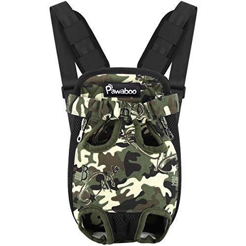Pawaboo Pet Carrier Backpack, Adjustable Pet Front Cat Dog Carrier Backpack Travel Bag, Legs Out, Easy-Fit for Traveling Hiking Camping for Small Medium Dogs Cats Puppies, Medium,Deep Camouflage Black