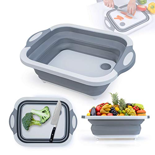 Collapsible Cutting Board, 3 in 1 Chopping Board with Drain Plug, Wash Basin and Dish tub and Colander, Multifunctional for Vegetable Fruit Wash, Space Saving for Kitchen, Camping, Picnic and BBQ