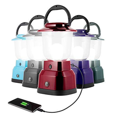 Enbrighten LED Camping Lantern, Battery Powered, USB Charging, 800 Lumens, 200 Hour Runtime, Carabiner Handle, Hiking Gear, Emergency Light, Blackout, Storm, Hurricane, Red, 29923
