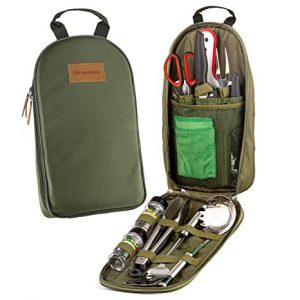 Camp Kitchen Cooking Utensil Set Travel Organizer Grill Accessories Portable Compact Gear for Backpacking BBQ Camping Hiking Travel Cookware Kit Water Resistant Case (Green 11 Piece Set)