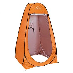 Your Choice Pop Up Camping Shower Tent, Portable Changing Room Camp Shower Toilet Privacy shelter Tents for Outdoor and Indoor, 6.2FT Tall - Color Orange