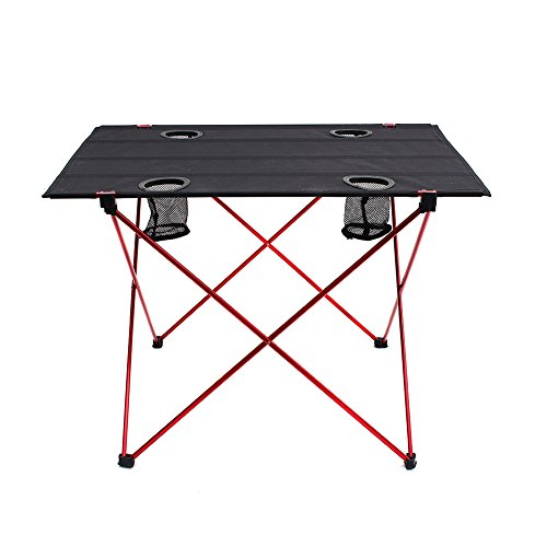 "Outry Lightweight Folding Table with Cup Holders, Portable Camp Table (L - Unfolded: 29.5"" x 22"" x 21"")"