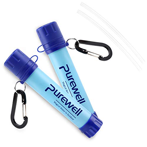 Purewell 2 Pack Outdoor Water Filter Straw Personal Water Filtration Emergency Survival Purifier for Camping Hiking Climbing Backpacking