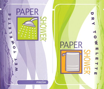 Paper Shower-Fresh - 12 Body Wipe Packs (A Wet and Dry Towel In Each Pack) per Order - ON SALE