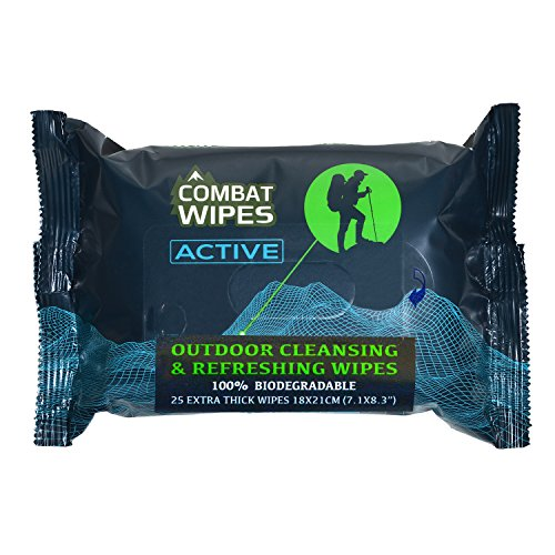 Combat Wipes Active Outdoor Wet Wipes | Extra Thick, Ultralight, Biodegradable, Body and Hand Cleansing/Refreshing Cloths for Camping, Gym andBackpacking w/Natural Aloe and Vitamin E (25 Wipes).