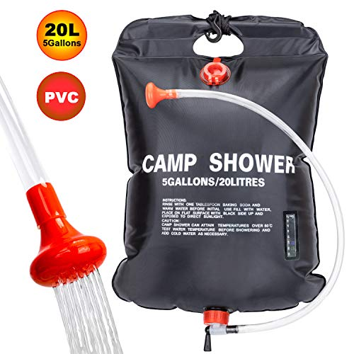 FeChiX Portable Shower Bag for Camp Shower 20L/5 Gallons Solar Shower Camping Shower Bag with Removable Hose and On-Off Switchable Shower Head for Outdoor Camping Traveling