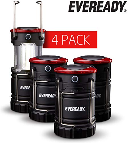 Eveready 360 LED Camping Lantern, IPX4 Water Resistant, Super Bright, 100 Hour Run-time, Battery Powered Outdoor LED Lantern, Black