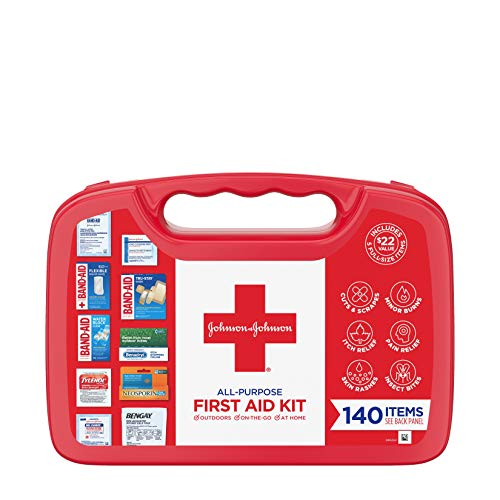 Johnson and Johnson All-Purpose First Aid Kit, Portable Compact First Aid Set for Minor Cuts, Scrapes, Sprains & Burns, Ideal for Home, Car, Travel and Outdoor Emergencies, 140 pieces