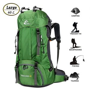 60L Waterproof Ultra Lightweight Hiking Backpack with Rain Cover,Outdoor Sport Daypack Travel Bag for Climbing Camping touring (Green)