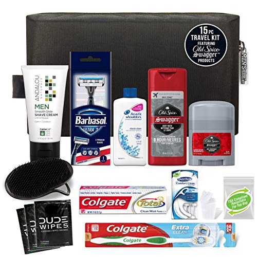 Convenience Kits International Men's Premium 15 Piece Travel Kit, Featuring: Head & Shoulders Dandruff Shampoo- Classic Clean