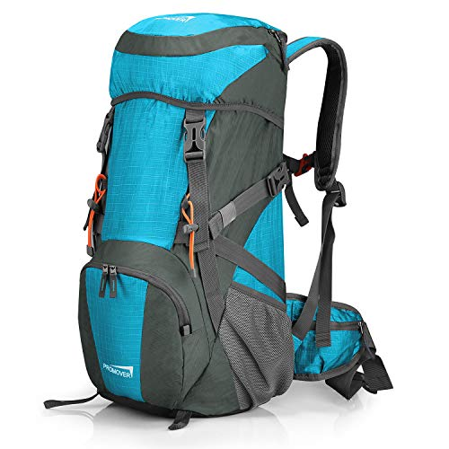 G4Free Large 40L Travel Backpack Hiking Daypack Water-Proof Camping Rucksack with Rain Cover for Camping Adults (Blue/Dark Grey)