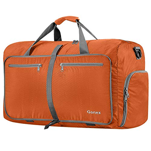 Gonex 80L Packable Travel Duffle Bag Foldable Duffel Bags for Luggage Gym Sports Camping Travelling Cycling Storage Shopping Water & Tear Resistant Orange
