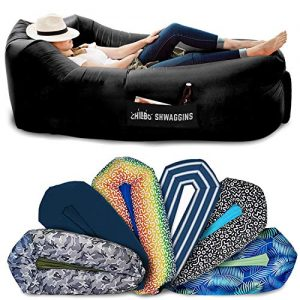 Chillbo SHWAGGINS 2.0 Best Inflatable Lounger Portable Hammock Air Sofa and Camping Chair Ideal Gift Inflatable Couch and Beach Chair Camping Accessories for Picnics & Festivals (Black)
