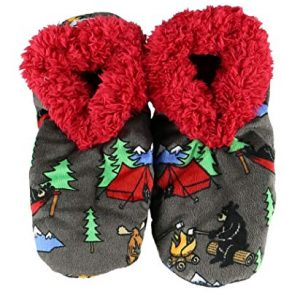 Lazy One Fuzzy Feet Slippers for Women, Happy Camper, Bear, Moose, Camping, Non-Skid