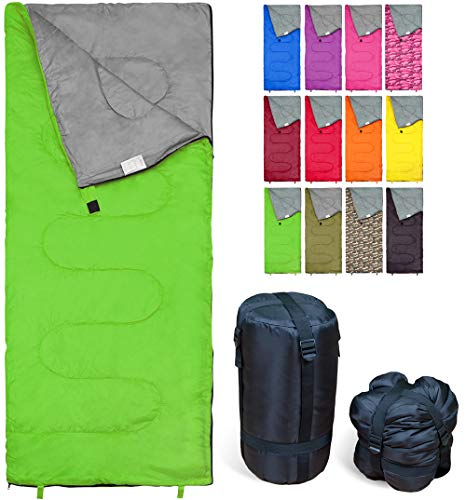 Lightweight Green Sleeping Bag by RevalCamp. Indoor and Outdoor use. Great for Kids, Teens and Adults. Ultra Light and Compact Bags are Perfect for Hiking, Backpacking, Camping and Travel