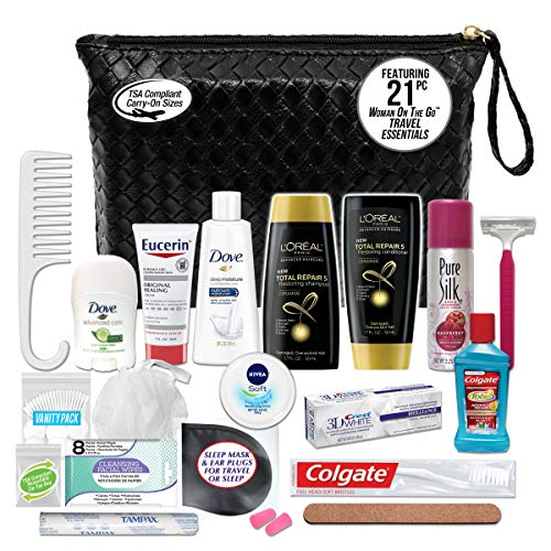 Convenience Kits International Women's Premium 21-Piece Assembled Necessities Travel Kit, Featuring: L'Oreal Paris Hair Products