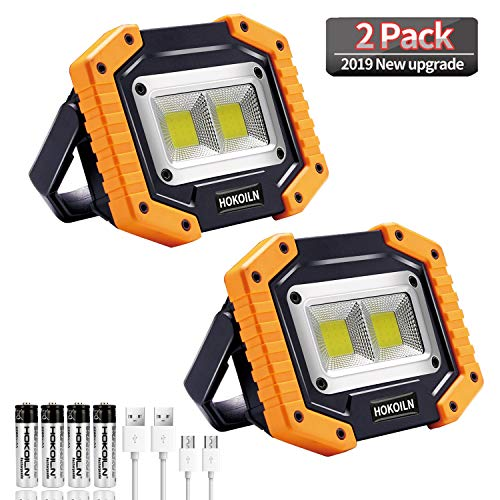 LED Work Light, 2 Pack HOKOILN 2 COB 30W 1500LM Rechargeable Work Light, LED Portable Waterproof LED Flood Lights for Outdoor Camping Hiking Emergency Car Repairing and Job Site Lighting
