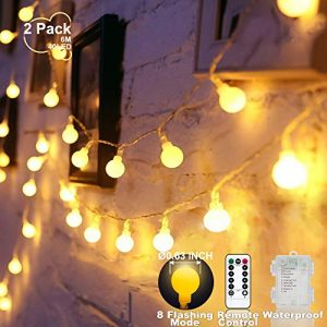 YoTelim Globe String Lights Battery Operated Warm White ,Water Proof 2 Pack 19.7FT 40 LED Globe Fairy String Light 8 Modes with Remote Control, for Home, Party, Christmas, Wedding, Garden Decoration