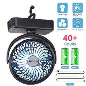 REENUO 5000mAh Camping Fan with LED Lights, 40 Hours Max Working Time Tent Fan with Hanging Hook, Rechargeable Battery Operated Desk Fan for Home and Office