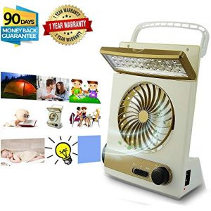 KASQA Portable Fan Solar Mini Fan LED Table Lamp 3 in 1 Multi-Function Eye-Care Flashlight Light for Home Camping Solar Cooling Fans (Gold)