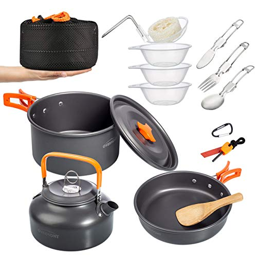 Overmont 15pc 1.95 Liter (Pot+ Kettle) Camping Cookware Mess Kit, Lightweight Pot Pan Kettle Fork Knife Spoon Kit for Backpacking, Outdoor Hiking and Picnic Free Folding Spork Knife Spoon