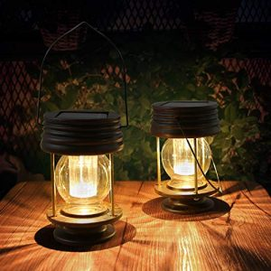 Pearlstar Solar Lantern - Hanging Solar Lights Outdoor - 2 Pack Solar Powered Waterproof Led Lanterns Vintage Design for Landscape,Yard,Garden,Pathway,Beach,Pavilion Decoration (Warm Lights)