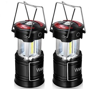 Wsky Rechargeable Lantern - Best LED Camping Lantern - High Lumen, Rechargeable, 4 Modes, Water Resistant Light - Camping, Outdoor, Emergency Flashlights Lanterns (1 Built-in Battery) 2 Pack