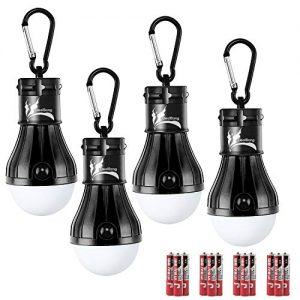 DealBang Compact LED Camping Light Bulbs with Clip Hook (Batteries Included) 150 Lumens LED Hanging Tent Lights for Camping, Hiking, Backpacking, Fishing, Hurricane, Emergency,Outage (Black,4-Pcs)