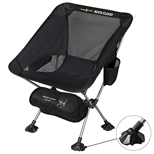 Rock Cloud Portable Camping Chair Ultralight Folding Chairs Outdoor with Legs Stabilizers for Camp Hiking Backpacking Lawn Beach Sports, Black