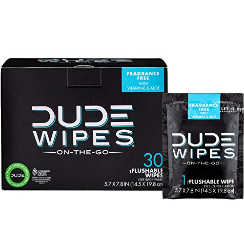 DUDE Wipes Flushable Wet Wipes, Individually Wrapped for Travel, Unscented Wet Wipes with Vitamin-E and Aloe, Septic and Sewer Safe, 30 Count.