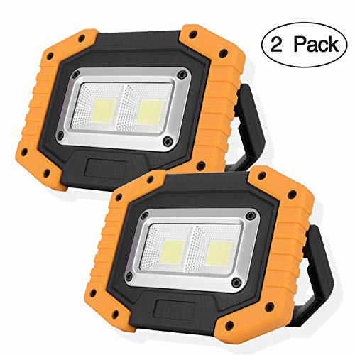 OTYTY 2 COB 30W 1500LM LED Work Light, Rechargeable Portable Waterproof LED Flood Lights for Outdoor Camping Hiking Emergency Car Repairing and Job Site Lighting (2 Pack)