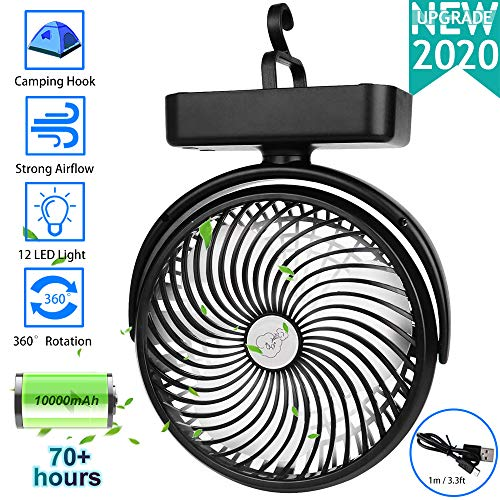 10000mAh Battery Operated Camping Fan with LED Lantern,Portable 8.6-Inch Rechargeable Tent Fan,70 Working Hours Max USB Desk Fan with Hanging Hook for Tent Car RV Hurricane Emergency Outages Office