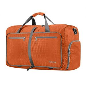 Gonex 60L Packable Travel Duffle Bag Foldable Duffel Bags for Luggage Gym Sports Camping Travelling Cycling Storage Shopping Water and Tear Resistant Orange