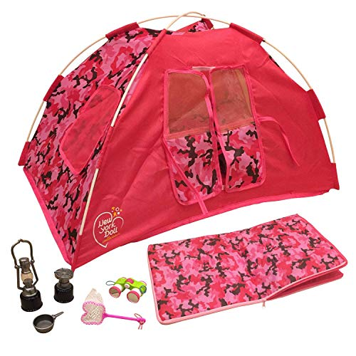 Newly Redesigned Camping Set for 18 inch Dolls - Super Cute Doll Camping Set - Light up Lantern - Safety Tested