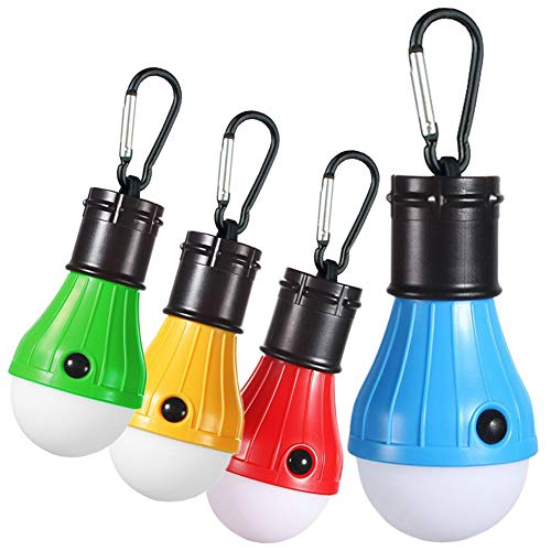 Zoojee Studio YG-310 Camping Lights Bulb-4 Pack and 4 Colors (Orange, Blue, Red and Green) Camping Lantern-1.97X4.72 Inch Portable Hanging Tent Lights Bulb, Bateery Powered Lantern.