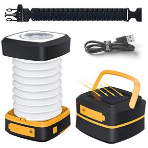 Quntis LED Camping Lantern, Bright Portable Survival Lanterns, Solar Flashlight Mini Torch Night Light for Hiking Tent Garden Patio Emergencies,Rechargeable Outdoor Lanterns,Collapsible,Waterproof