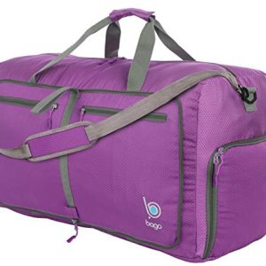 "Bago 80L Duffle Bag for Women and Men - 27"" Travel Bag Large Foldable Duffel bag (Purple)"