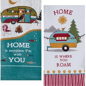 Camping Trailer Theme Cotton Kitchen Towels Set for RV Camper| 16 Inch x 26 Inch| Total 2 Terry Towels for Dish and Hand Drying