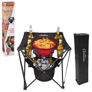 Tailgating Table- Collapsible Folding Camping Beach Table with Insulated Cooler, Food Basket and Travel Bag for Barbecue, Picnic and Tailgate